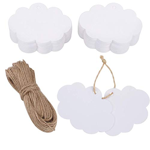 eBoot 100 Pack Crafts Paper Tags Kraft Gift Tags Cloud Shape Hang Labels with 30 Meters Natural Twine (White)