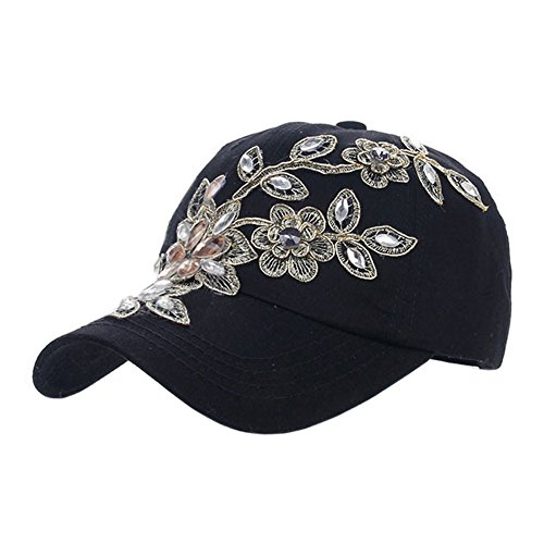 Deer Mum Ladies Denim Jean Campagne Bling Ajustable Baseball Cap Cowboy Hat(Flower 1) (Black)
