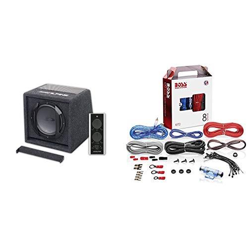 Alpine SWE-Sound-System für Kfz, Schwarz & BOSS Audio KIT2 8 Gauge/ 3,27 mm Auto Installations-Set Verstärker Endstufe Kabel Anschlusskabel Cinch Kabel, Mehrfarben