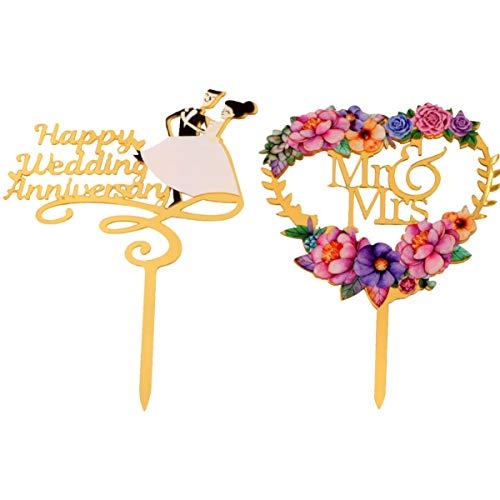 PRETYZOOM 2 Piezas de Adorno de Pastel de Feliz Aniversario con Forma de Flor de Amor Mr and Mrs Cake Topper Picks Decoraciones de Pastel para Bodas Compromiso Aniversario Despedida de