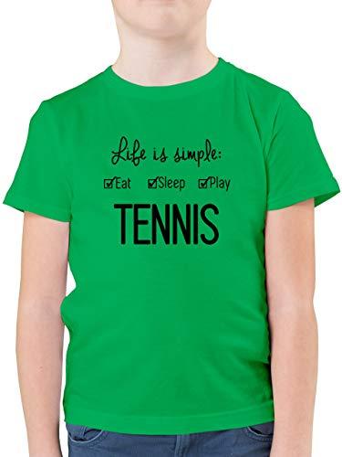 Sport Kind - Life is Simple Tennis - 152 (12/13 Jahre) - Grün - Geschenk - F130K - Kinder Tshirts und T-Shirt für Jungen