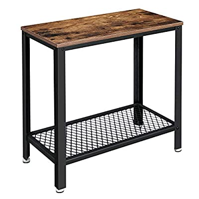 VASAGLE Industrial Side Table, 2-Tier Nightstand With Mesh Shelf, End Table for Small Spaces, Sturdy and Easy Assembly, Wood Look Accent Furniture with Metal Frame, Rustic Brown ULET31BX