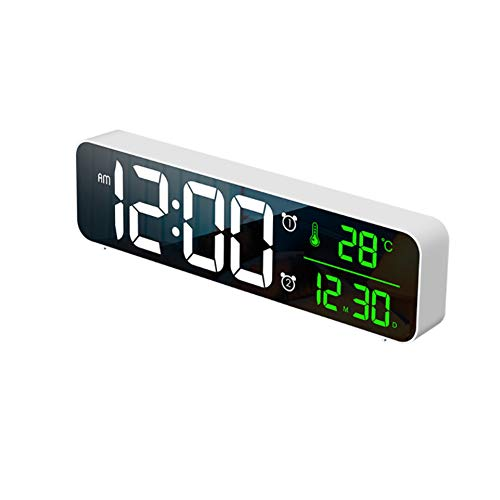 Sptseires Digital Alarm Clock Bedside Mirror HD Led Display Electric digital Clock USB Charging with Snooze Humidity Music for Kids and Childrens (White)