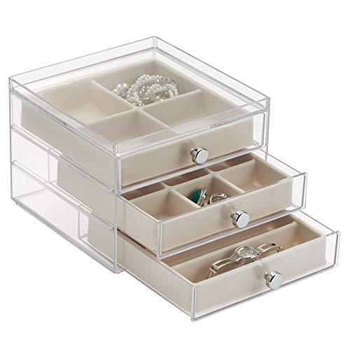 iDesign Plastic Jewelry Box, Compact Storage Organization Set for Cosmetics, Hair Care, Bathroom, Dorm, Desk, Countertop, Office, 6.5