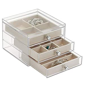 """iDesign Plastic Jewelry Box, Compact Storage Organization Set for Cosmetics, Hair Care, Bathroom, Dorm, Desk, Countertop, Office, 6.5"""" x 7"""" x 5"""", 3 Drawers Slim Divided"""