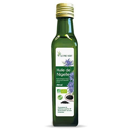Huile de Nigelle BIO - Alimentaire ou cosmétique - Vierge - Extraite à froid - 250 ml - Fabriquée en France - Le Pré Vert