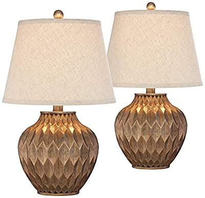 Buckhead Modern Accent Table Lamps Set of 2 Warm Bronze Geometric Urn Tapered Drum Shade for Living Room Family Bedroom Office - 360 Lighting
