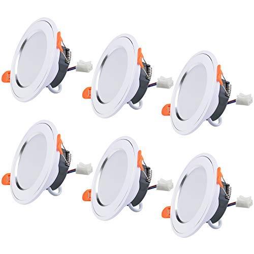 LED Spot Einbaustrahler, 7W Ultra Flach Einbauleuchten Deckenspots, 630LM, AC185-265V, IP40, 6000K Kaltweiß, Nicht Dimmbar, 6er Set für Wohnzimmer Schlafzimmer