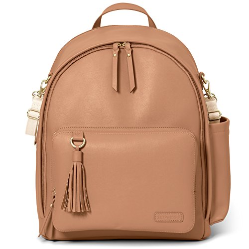 Skip Hop Diaper Bag Backpack: Greenwich Multi-Function Baby Travel Bag with Changing Pad and Stroller Straps, Vegan Leather, Caramel
