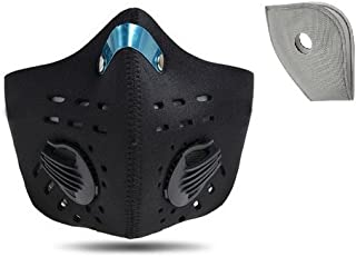 Jonty™ Black Neoprene PM 2.5 N95 Anti Pollution Activated Carbon Dust Face Mask with Breathing Valve and 1 Carbon Filter extra