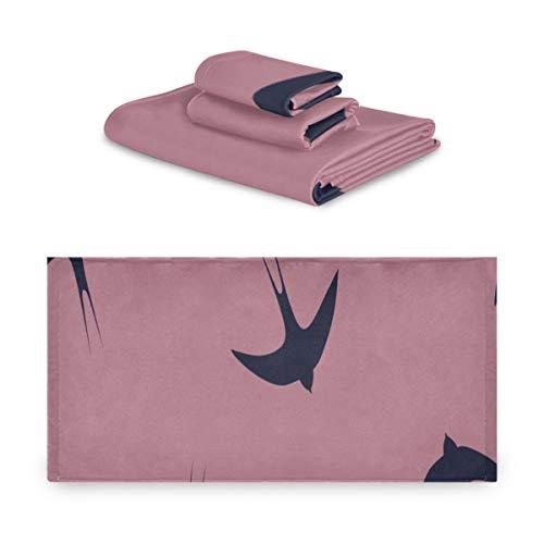 Set de toallas para hombres Cute Flying Barn Swallow Animal Flower Towels Conjuntos de baño extremadamente absorbentes, hermosos Set de toallas de 3 piezas 1 toalla de baño, 1 toalla de mano, 1 toal