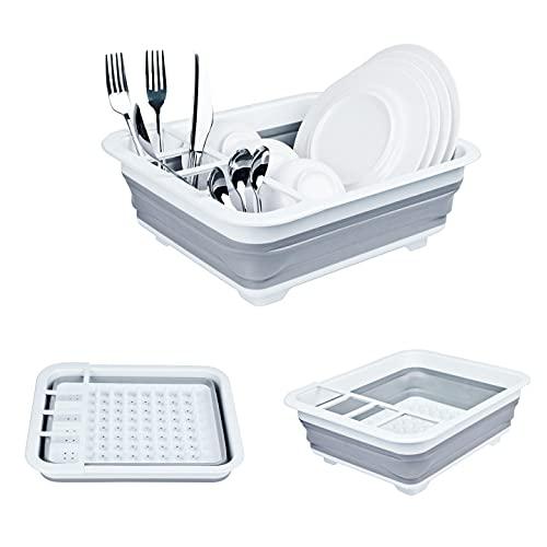 TOLEAD Scolapiatti pieghevole in plastica per stoviglie e posate da cucina, grande capacità, per frutta, verdura, campeggio