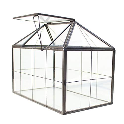 Caja de cristal para joyería de terrario, caja de vidrio transparente, forma de casa cerrada, geométrica, mesa suculenta, maceta (sin planta) exquisita