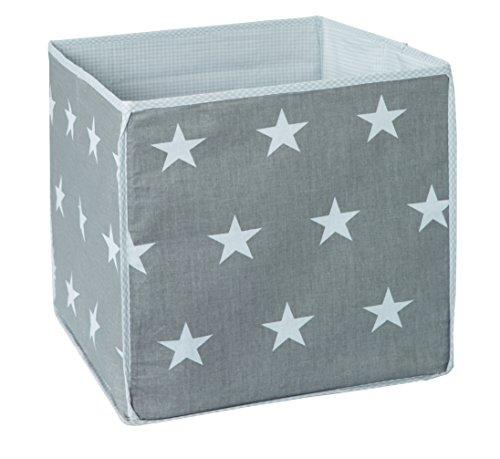 ROBA 139100DGV190 – boîte de rangement « Little Stars », gris avec étoiles blanches.