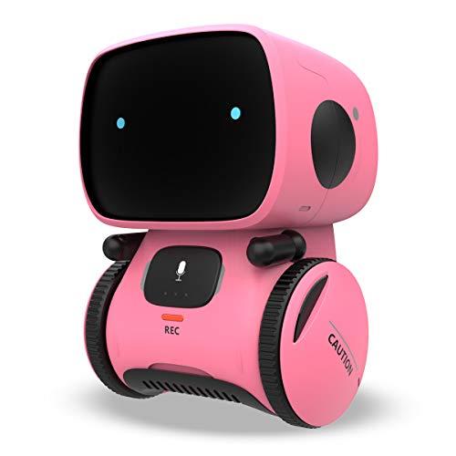 REMOKING Intelligent Roboter Kinder Spielzeug, Interaktives Roboter Lernspielzeug, Geschenke für Jungen Mädchen, Touch-Steuerung, Sprachsteuerung, Sprachaufnahme, Nachsprechen, Tanzen, Musik (Rosa)
