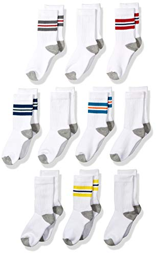 Amazon Essentials 10-Pack Cotton Varsity Crew Sock Athletic-Socks, Color Stripe/White with Grey Heather Heel, Toe, Large (Shoe Size: 3-10)