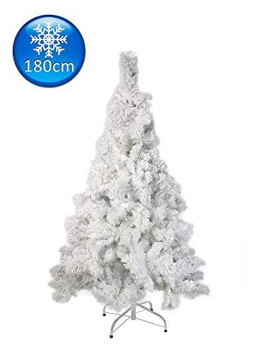 Vetrineinrete Albero di Natale Bianco innevato Artificiale Rami con Neve Abete Pino folto Effetto Realistico Base in Metallo Decorazioni Natalizie 120 150 180 210 cm (180 cm)