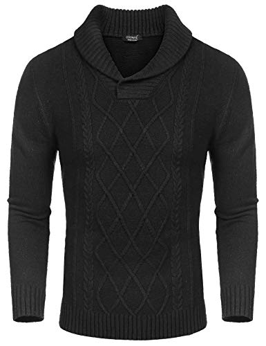 COOFANDY Men's Shawl Collar Sweaters V-Neck Cotton Relaxed Fit Cable Pullover Black