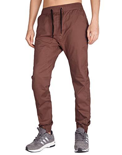 ITALY MORN Pantalón para Hombre Casual Chino Jogging Algodón Slim Fit 20 Colores (S, Marron Oscuro)
