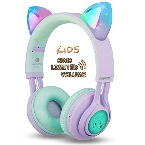 Kids Headphones, Riwbox CT-7S Cat Ear Bluetooth Headphones Volume Limiting...