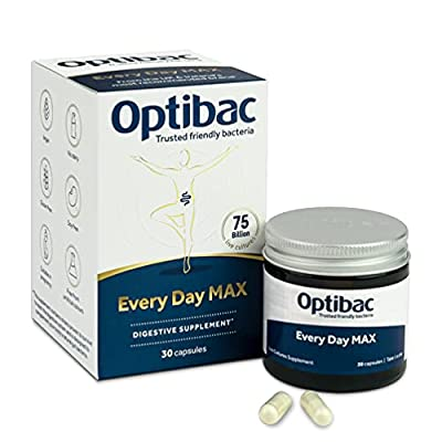 Optibac Every Day MAX   Good Bacteria   Max Strength Vegan Digestive Supplement   Most Researched Acidophilus   75 Billion   30 Capsules