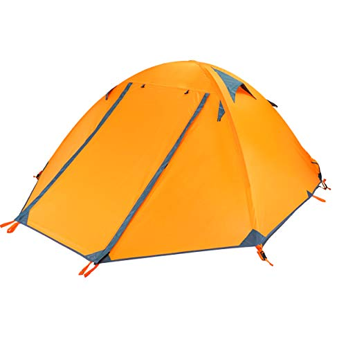 Azarxis 1 2 Man Tent 3 4 Season Single One Two Person Easy Up Lightweight Waterproof Ultralight Double Layer for Backpacking Camping Hiking (Orange)