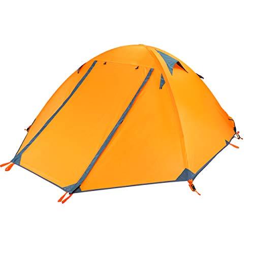 Azarxis 1 2 Man Zelt 3 4 Saison Single One Zwei Personen Einfach Up Leichte wasserdichte Ultralight Double Layer für Backpacking Camping Wandern (Orange)