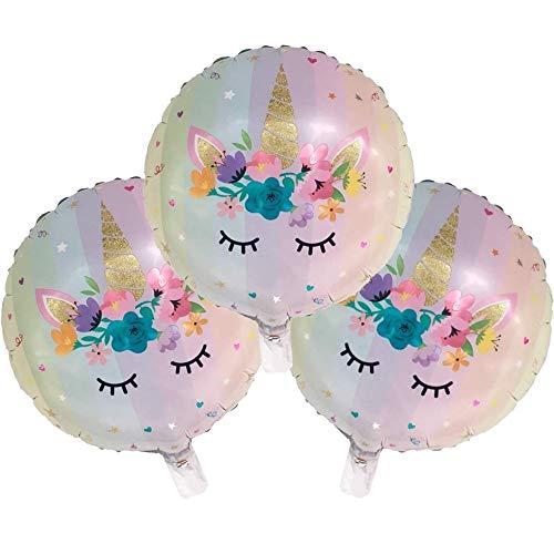 DIWULI, 3 Stück Einhorn-Luftballons, Folien-Luftballons, Ballon-Set, Unicorn Folien-Ballons für Geburtstag, Mädchen Kindergeburtstag, Hochzeit, Motto-Party, Dekoration, Geschenk-Deko und Einhorn-Fans
