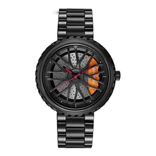 Bluelander Reloj para Caballero Diseño de Llanta de Auto, Estructura 3D, Acero Inoxidable, Cómodo e Impermeable, Regalo Perfecto para Fanáticos de los Autos