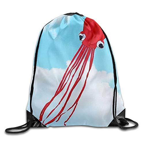 Etryrt Prämie Turnbeutel/Sportbeutel, Custom Red Octopus Unisex Gym Drawstring Shoulder Bag Backpack String Bags for Men Women