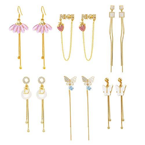 EZreal Bohemian Drop Dangle Earrings Set Vintage Statement Hoop Earrings, Pearl Earrings Stud Set, Fashion Earring for Valentine Birthday Party Gift
