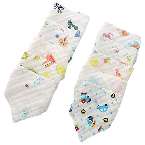 Baberos de bebé 5 piezas/Set de baberos de muselina de gasa, baberos bandana de alimentación para bebés, toalla para eructos, baberos baberos