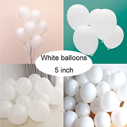 라텍스 흰색을 위해 200PC5 인치 마카롱 흰색 풍선에 대한 아기 샤워 생일 결혼기념일 크리스마스 축제 피크닉이나 친구와 가족이자 장-파스텔 화이트