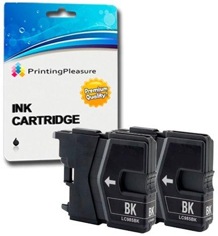 2 SCHWARZ Druckerpatronen für Brother MFC-J220, MFC-J265W, MFC-J410, MFC-J415W, MFC-J515W, DCP-J125, DCP-J315W, DCP-J515W | kompatibel zu Brother LC985 LC39