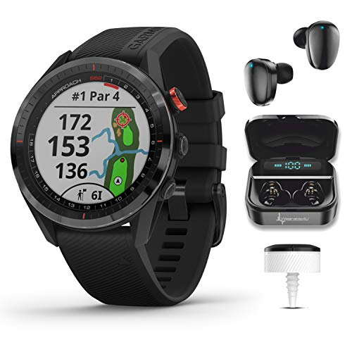 Garmin Approach S62 Premium GPS Black Golf Watch with 3xCT10 and Wearable4U Black Earbuds with Charging Power Bank Case Bundle