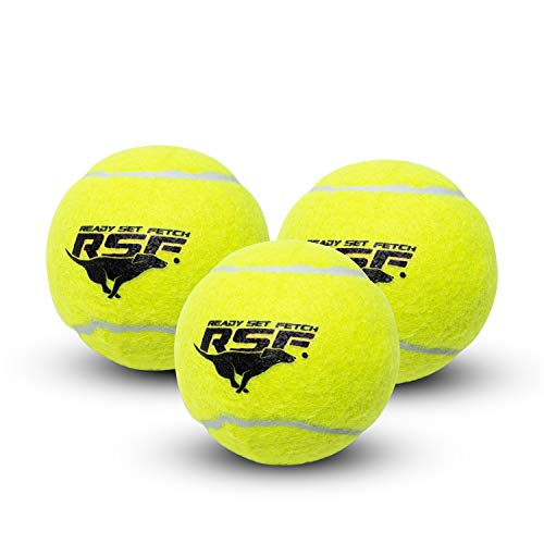 Franklin Pet Supply Ready Set Fetch Squeak Tennis Balls Dog Toy Squeaks When Squeezed - 3 Pack - for Small -Medium- Large Dogs- Dog Balls - Squeaker Noise