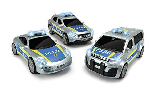 Dickie Toys Polizeieinheit, Polizeieinsatzfahrzeug, Spielzeugauto, 3 Verschiedene Modelle: Porsche, Citroën oder Mercedes, zufällige Auswahl, 15 cm, ab 3 Jahren