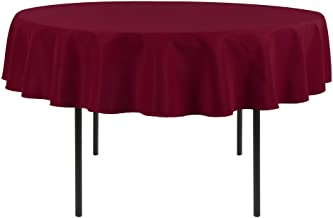 Waysle 70-Inch Round Tablecloth, 100% Polyester Washable Table Cloth for Circular Table, Burgundy