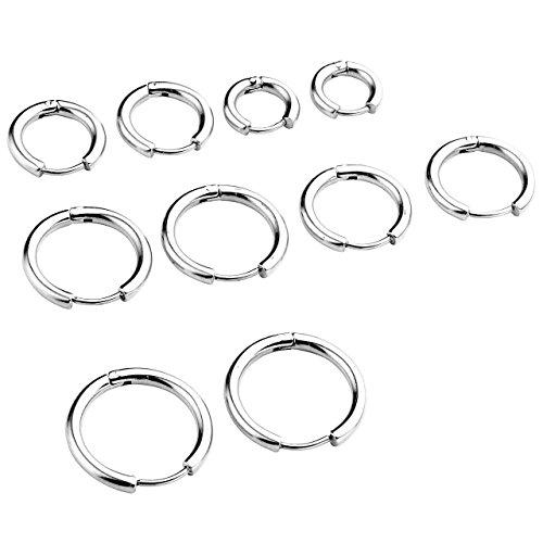 BOPREINA Ohrpiercing Set 10 Stücke 8-16mm Edelstahl Hoop Creolen Ohrringe Huggie Kreolen Ring Ohrringe Ohrpiercing Unisex Punk, silber/gold/schwarz (Silber)