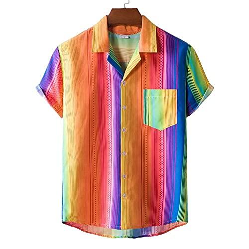 T-Shirt Hombre Transpirable con Cuello En V Estampado Moda Hombres Shirt Ocio Bolsillos Verano Botón Tapeta Manga Corta Hombres Shirt Playa Personalidad Hawaii Hombres Shirt H-XH41 XL