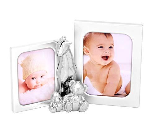 Brillibrum Design Silber Fotorahmen mit Tierfiguren niedlicher Kinder-Bilderrahmen aus Metall für zwei Fotos Porträt Rahmen Fotoformat 10x13 & 7x10 (Ohne Gravur)