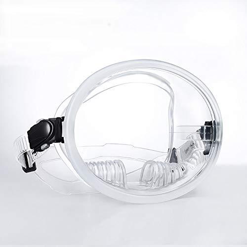 ACOMG Máscara de esnórquel de Cara Completa 180 °, máscara de Snorkel con Lente de Vidrio Templado, Banda para la Cabeza Ajustable antivaho antivaho, la Forma,Clear