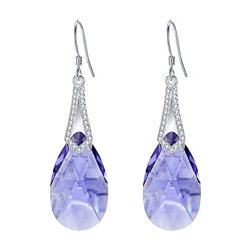 EleQueen 925 Sterling Silver CZ Teardrop Bridal Hook Dangle Earrings Lavender Purple Made with Crystals