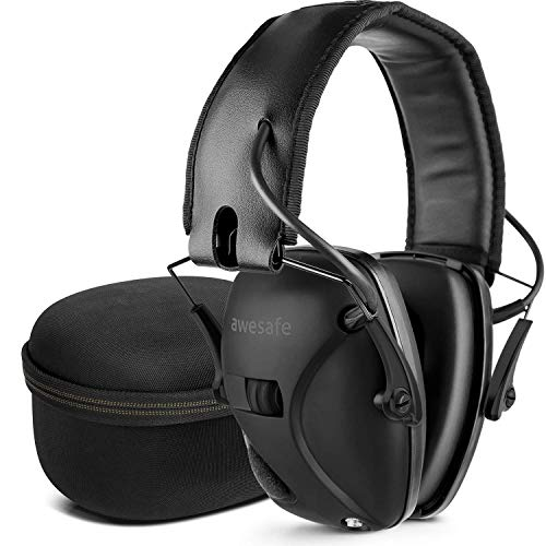 awesafe Electronic Shooting Hearing Protection Earmuffs Comes with Hard Carrying Case (Black)