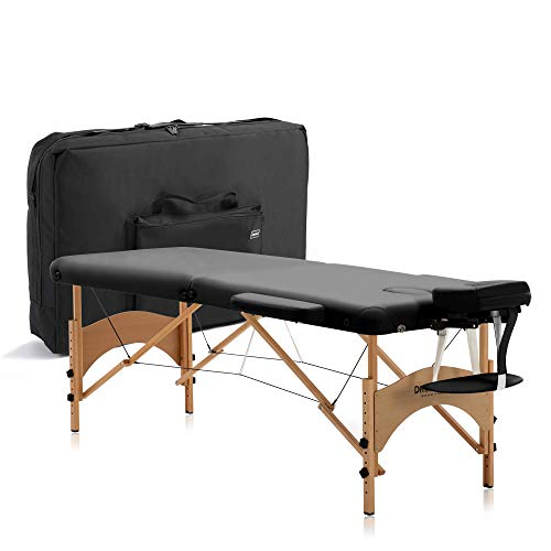 "DR.LOMILOMI Lite-Weight Portable Massage Table Bed 005 ALOHA - W28"" X L73"" (All-Inclusive Package, Black)"