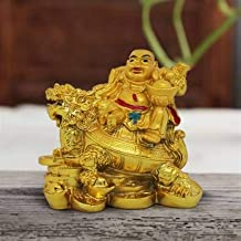 VIRSAA Feng Shui Laughing Buddha Sitting On Dragon Blessing Good Luck Decorative Showpiece for Good Fortune, Success & Pro...