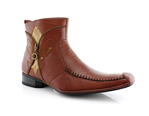 Delli Aldo Men's 668 Square Toe Fleur De Lis Design Zipped Ankle Dress Boots, Black, 7