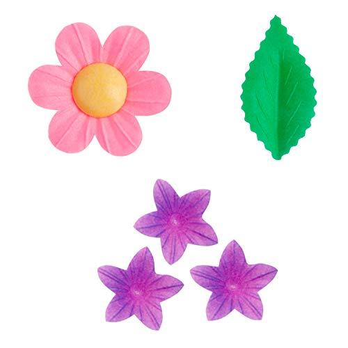 Dekora - Kit de Flores y hojas de Papel de Oblea para Decoración de Tartas, Cupcakes u otros Postres