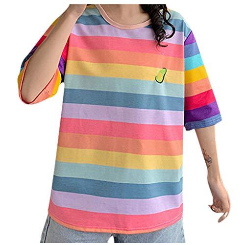 Brizz Damesbovenstuk, casual T-shirts, halsmouwen, losse regenboog-t-shirt, vrouwelijke top, blouse, stijlvolle bonte gestreepte studententop, blousejurk