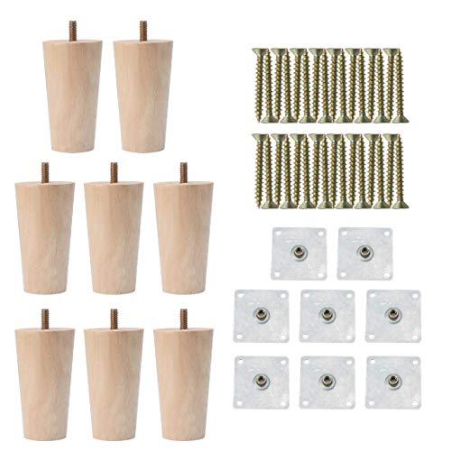 YeVhear 4' redondas de madera maciza para muebles, muebles, muebles, sofá, silla, escritorio, armario, patas de repuesto, ajuste conjunto de 8